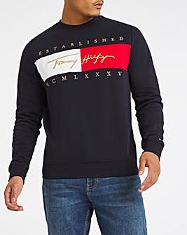 Tommy Hilfiger Navy Signature Flag Sweat