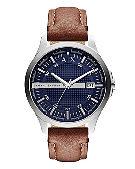 Armani Exchange Mens Brown Leather Strap Hampton Watch