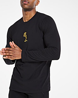 Religion Black Long Sleeve Foil Stripe T-Shirt Long