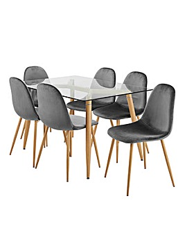 Monika Dining Table with 6 Annika Chairs
