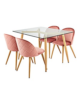 Monika Dining Table with 4 Klara Chairs