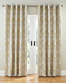 Peyton Leaf Lined Eyelet Curtains
