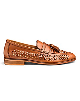 Leather Interweave Tassle Loafer