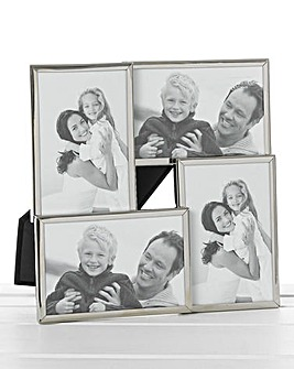 Shiny Silver Collage 4 Picture Frame