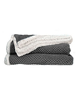 cascade home waffle throw with sherpa
