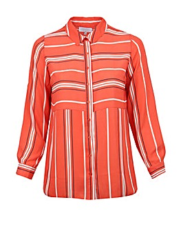 Lovedrobe GB Coral Stripe Longline Shirt