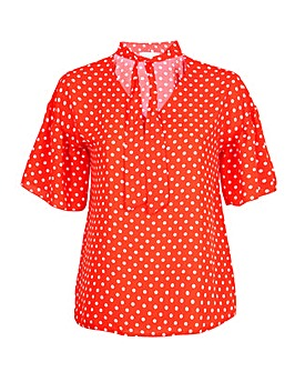 Lovedrobe Orange Polka Dot Tie Neck Top