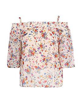 Koko Poppy Print Cold Shoulder Top