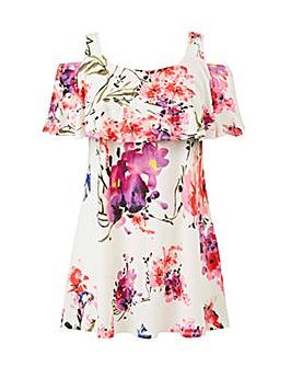 Grace floral cold shoulder tunic