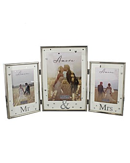 Amore Silverplated Mr & Mrs Triple Frame