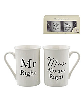 Amore mug set Mr Right/Mrs Always Right