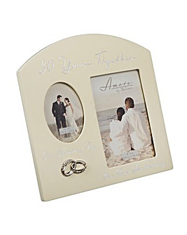 Amore Double Photo Frame 30 Anniversary