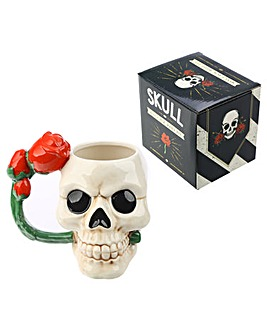 Skull and Rose Shaped Handle Ceramic Mug