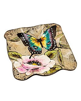 Peacock Butterfly Square Dish
