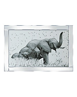 Elephant Family Mirrored Frame Wall Art