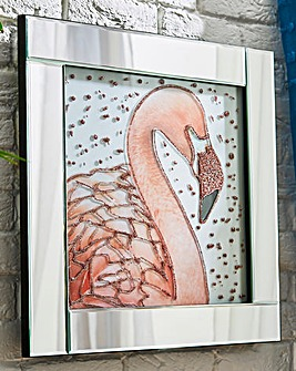 Flamingo Glitter Mirrored Frame
