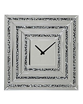 Mirrored Glitz Square Clock