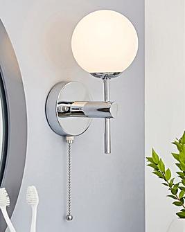 Opal Glass Chrome Bathroom Light