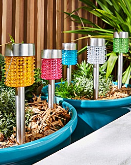 Set of 5 Multicolour Solar Stake Lights