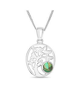 Sterling Silver Abalone Stone Family Tree Pendant