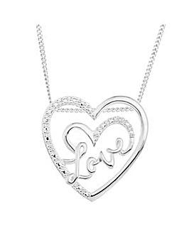 Sterling Silver CZ Heart Love Pendant