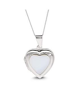 Sterling Silver Pearl Heart Locket