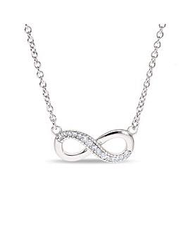 Sterling Silver Cubic Zirconia Infinity Loop Necklet