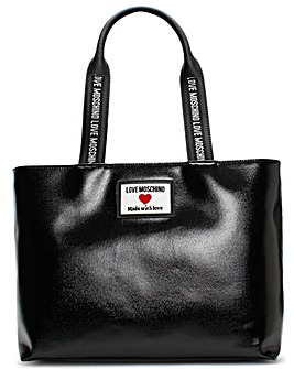 Love Moschino Coated Canvas Logo Patent Shopper Bag