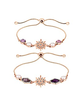 Rose Gold Plated Pink Crystal Celestial Bracelets - Pack of 2