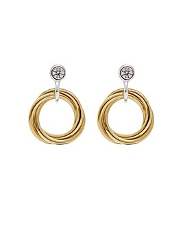 14ct Gold Plated Sterling Silver Triple Ring Cubic Zirconia Earrings