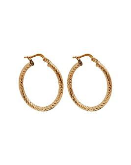 14ct Gold Plated Sterling Silver Twist Hoop Earrings