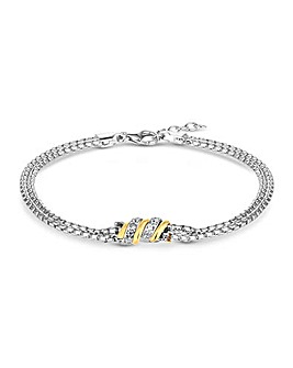 Simply Silver 2-Tone Pave Bracelet