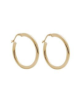 14ct Gold Plated Sterling Silver Large Tube Hoop Earrings