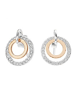 Sterling Silver 925 Two Tone Cubic Zirconia Double Round  Earrings