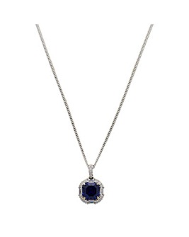 Sterling Silver 925 Navy Blue Cubic Zirconia Crystal Necklace