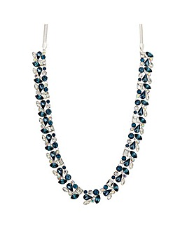 Silver Plated Blue Crystal Cluster Necklace