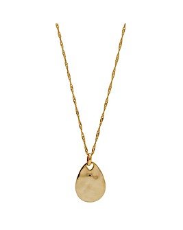 14ct Gold Plated Sterling Silver Fluid Pear Drop Pendant Necklace