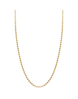 14ct Gold Plated Sterling Silver Flat Bead Chain Necklace