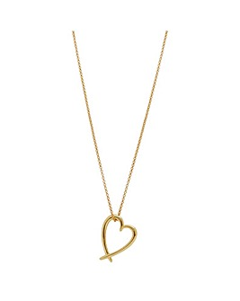 14ct Gold Plated Sterling Silver Crossover Heart Pendant Necklace