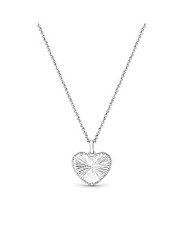 Simply Silver Diamond Cut Heart Necklace