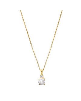 12Ct Gold Sterling Silver 925 Round Mini Cubic Zirconia Necklace