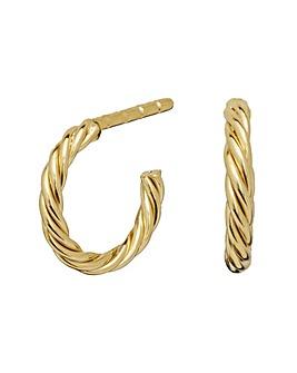 Sterling Silver 925 12Ct Gold Polished Mini Twist Hoop Earrings