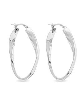 Simply Silver Oval Twist Hoop Earrings