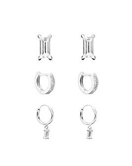 Emerald Cut Earring Set - Pack of 3