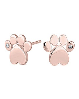 14ct Rose Gold Sterling Silver 925 Cubic Zirconia Paw Print Stud Earrings