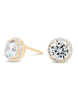 12ct Gold Sterling Silver 925 Cubic Zirconia Round Halo Stud Earrings