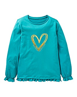KD Girls L/S Foil Heart Frill T-Shirt