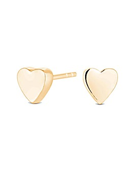 12ct Gold Sterling Silver 925 Thick Heart Stud Earrings