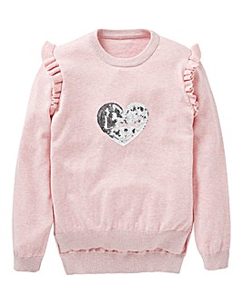 KD Girls Sequin Heart Jumper