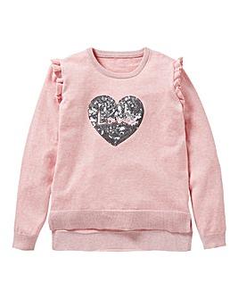 KD Girls Sequin Heart Jumper
